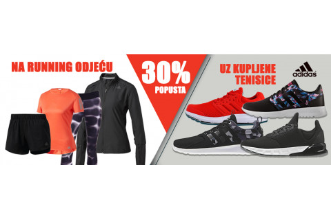 Uz adidas tenisice,  darujemo vam 30% popusta na running tekstil