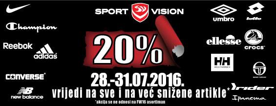 20% popusta NA SVE u odabranim Sport Vision trgovinama