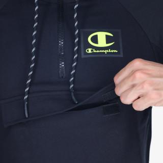 CHAMPION majica s kapuljačom s polu patentom RUBBER LOGO