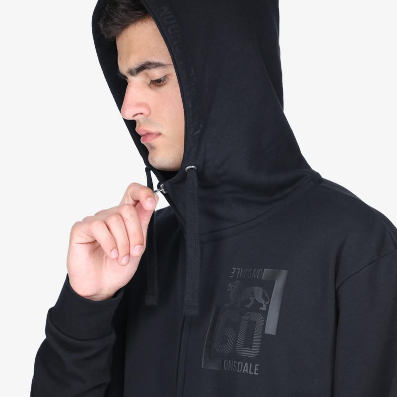 LONSDALE majica s kapuljačom na patent BLK F21