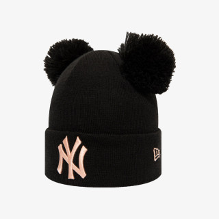 NEW ERA beanie WMNS LEAGUE ESS DBL BOBBLE NEYYAN BLK